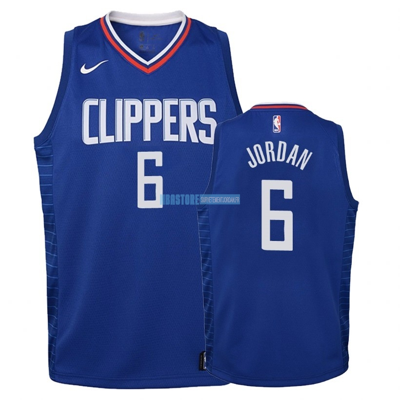 Maillot NBA Enfant Los Angeles Clippers NO.6 DeAndre Jordan Bleu Icon 2018 Qualité 100%