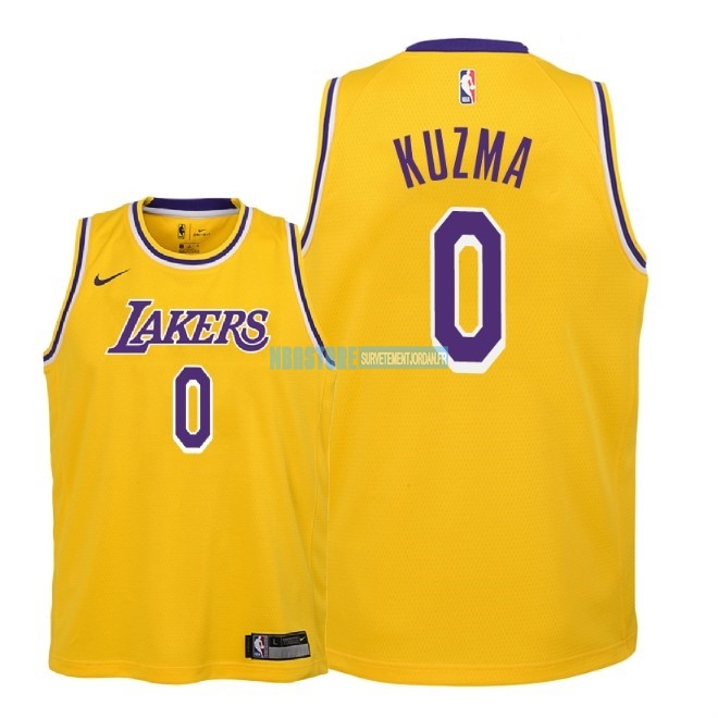 Maillot NBA Enfant Los Angeles Lakers NO.0 Kyle Kuzma Jaune Icon 2018-19 Qualité 100%