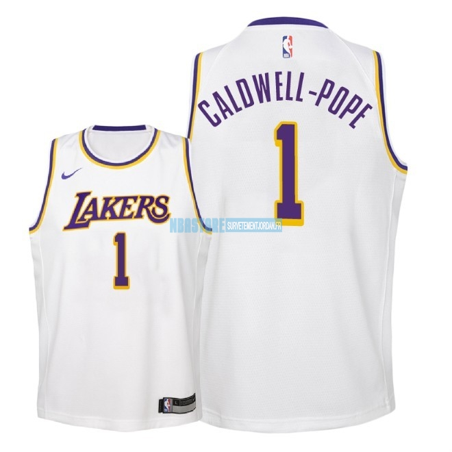 Maillot NBA Enfant Los Angeles Lakers NO.1 Kentavious Caldwell Pope Blanc Association 2018-19 Qualité 100%