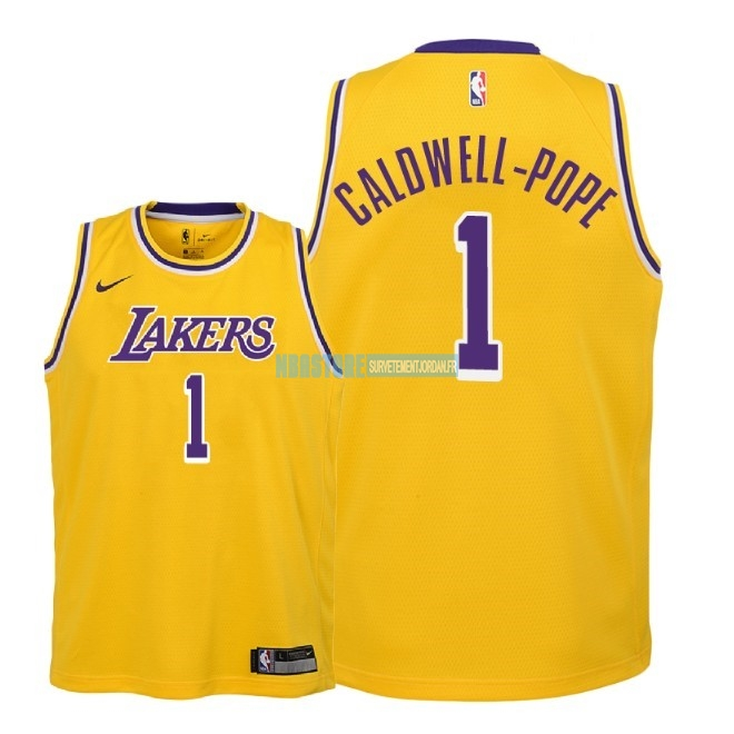 Maillot NBA Enfant Los Angeles Lakers NO.1 Kentavious Caldwell Pope Jaune Icon 2018-19 Qualité 100%