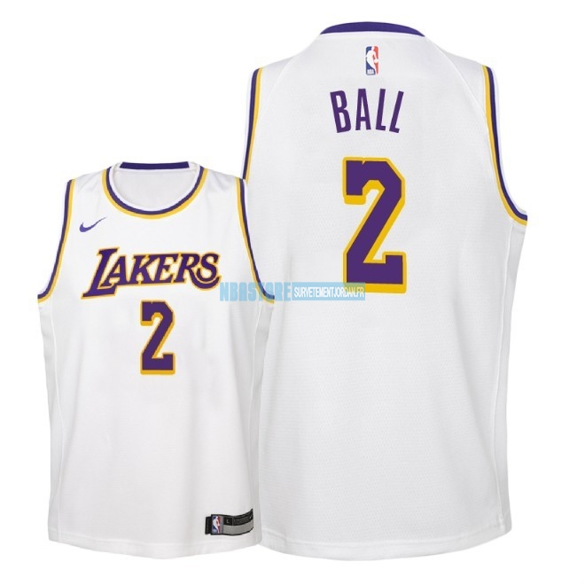 Maillot NBA Enfant Los Angeles Lakers NO.2 Lonzo Ball Blanc Association 2018-19 Qualité 100%