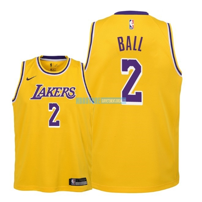 Maillot NBA Enfant Los Angeles Lakers NO.2 Lonzo Ball Jaune Icon 2018-19 Qualité 100%