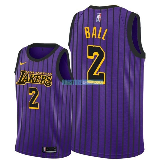 Maillot NBA Enfant Los Angeles Lakers NO.2 Lonzo Ball Nike Pourpre Ville 2018-19 Qualité 100%