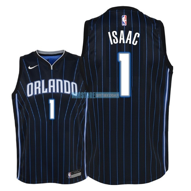 Maillot NBA Enfant Orlando Magic NO.1 Jonathan Isaac Noir Statement 2018 Qualité 100%