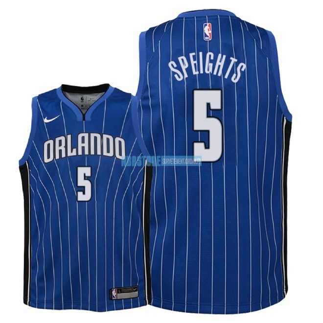 Maillot NBA Enfant Orlando Magic NO.5 Marreese Speights Bleu Icon 2018 Qualité 100%