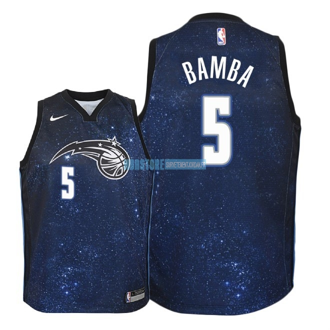 Maillot NBA Enfant Orlando Magic NO.5 Mohamed Bamba Nike Marine Ville 2018 Qualité 100%