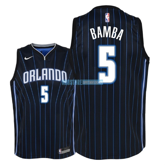 Maillot NBA Enfant Orlando Magic NO.5 Mohamed Bamba Noir Statement 2018 Qualité 100%