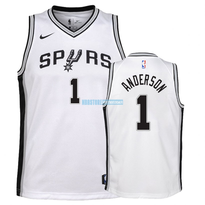 Maillot NBA Enfant San Antonio Spurs NO.1 Kyle Anderson Blanc Association 2018 Qualité 100%