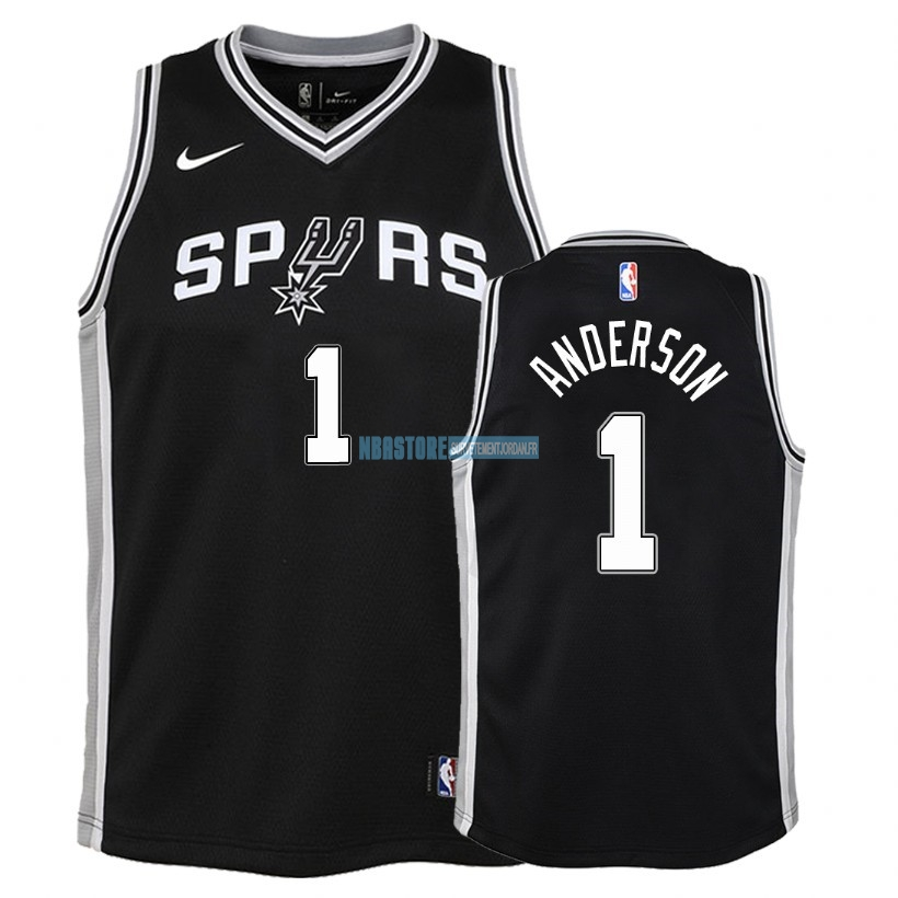 Maillot NBA Enfant San Antonio Spurs NO.1 Kyle Anderson Noir Icon 2018 Qualité 100%