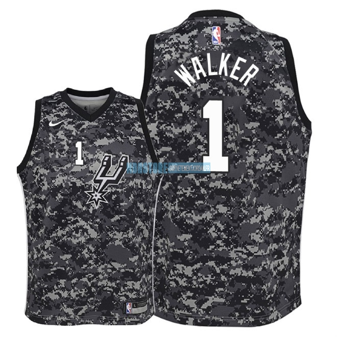 Maillot NBA Enfant San Antonio Spurs NO.1 Lonnie Walker Nike Camuflaje Ville 2018 Qualité 100%