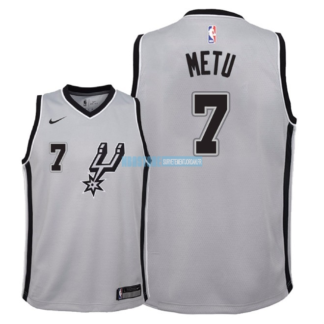 Maillot NBA Enfant San Antonio Spurs NO.7 Chimezie Metu Gris Statement 2018 Qualité 100%