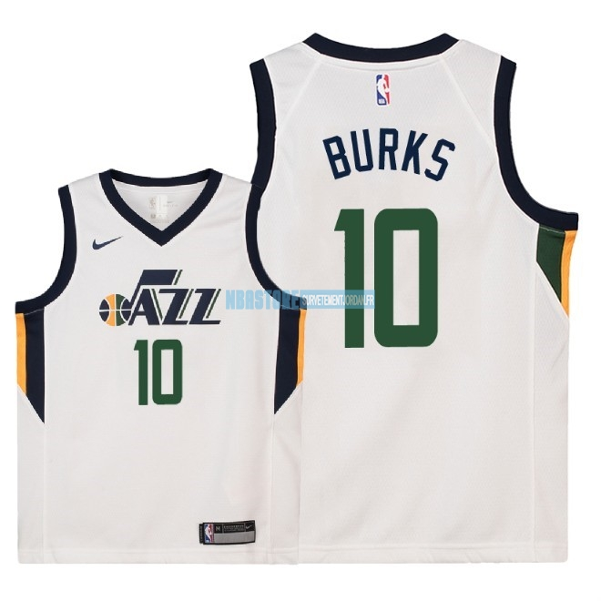 Maillot NBA Enfant Utah Jazz NO.10 Alec Burks Blanc Association 2018 Qualité 100%