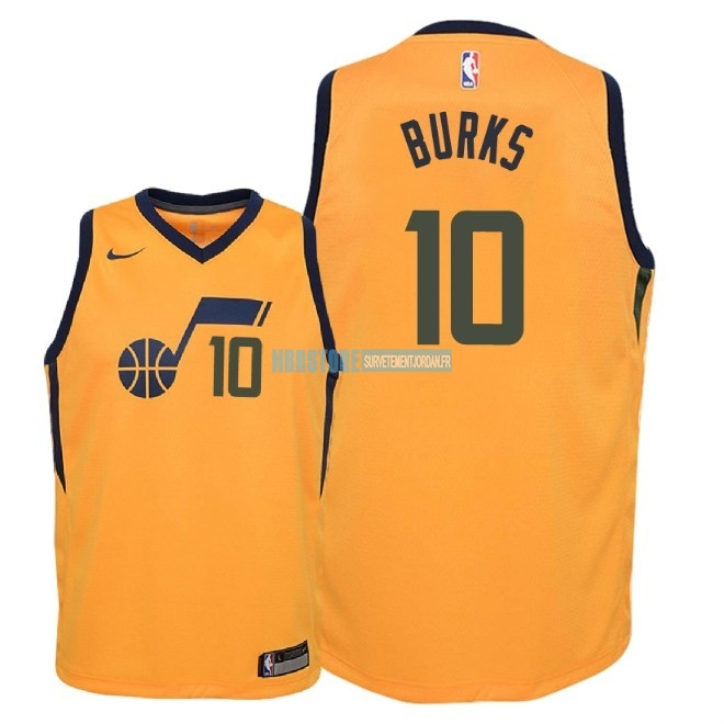 Maillot NBA Enfant Utah Jazz NO.10 Alec Burks Jaune Statement 2018 Qualité 100%