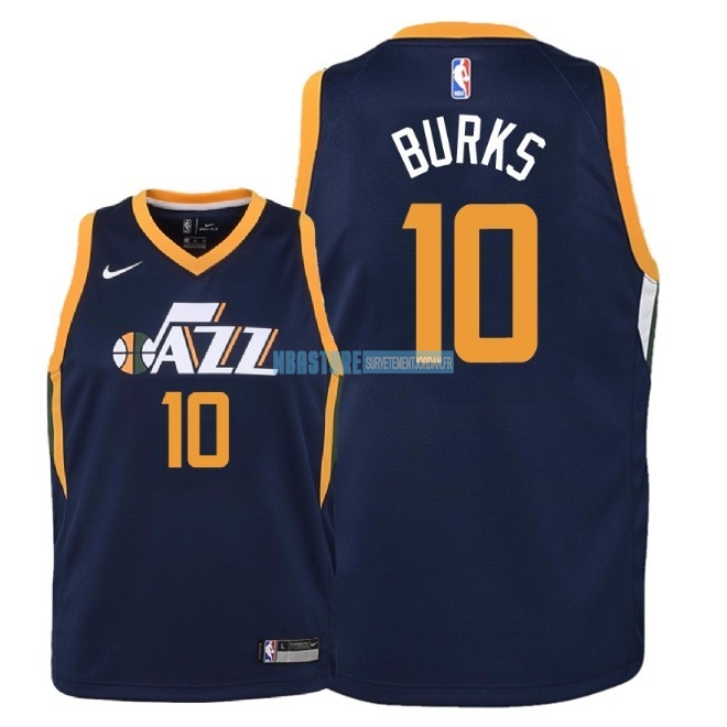 Maillot NBA Enfant Utah Jazz NO.10 Alec Burks Marine Icon 2018 Qualité 100%