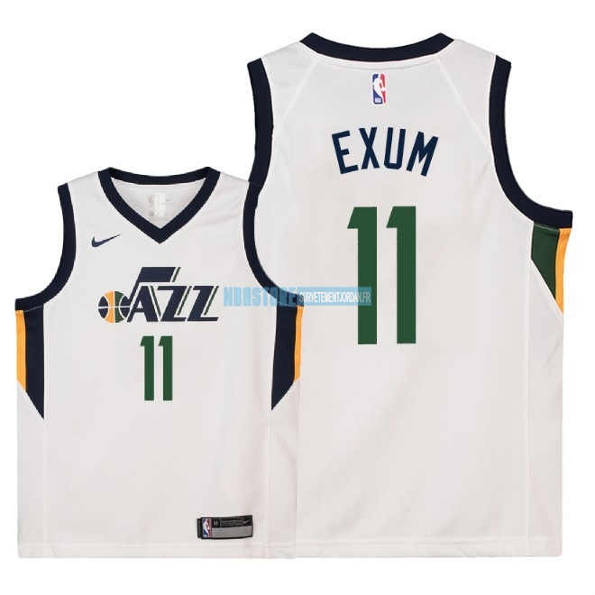 Maillot NBA Enfant Utah Jazz NO.11 Dante Exum Blanc Association 2018 Qualité 100%