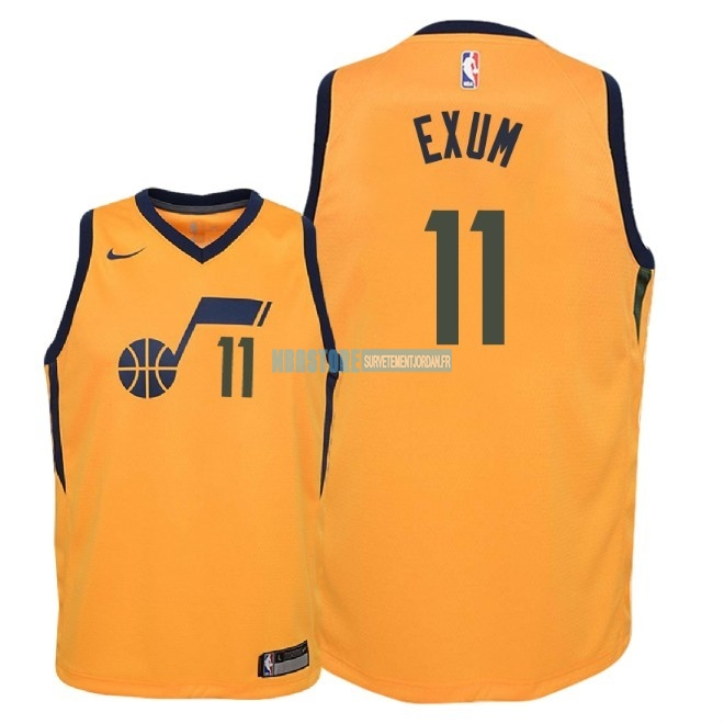 Maillot NBA Enfant Utah Jazz NO.11 Dante Exum Jaune Statement 2018 Qualité 100%