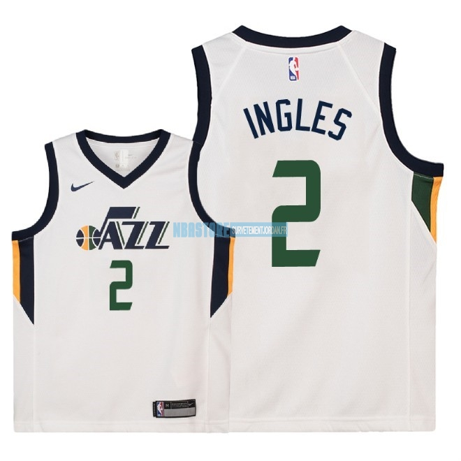 Maillot NBA Enfant Utah Jazz NO.2 Joe Ingles Blanc Association 2018 Qualité 100%