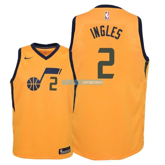 Maillot NBA Enfant Utah Jazz NO.2 Joe Ingles Jaune Statement 2018 Qualité 100%