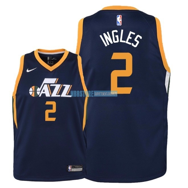Maillot NBA Enfant Utah Jazz NO.2 Joe Ingles Marine Icon 2018 Qualité 100%