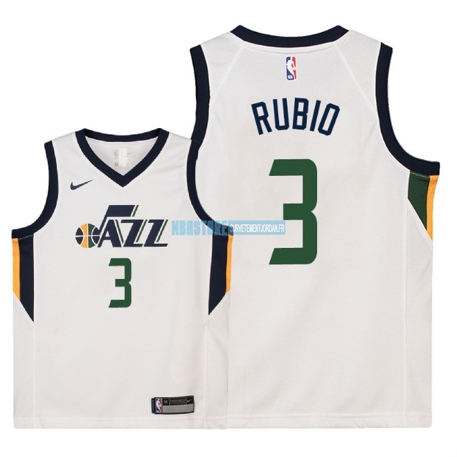 Maillot NBA Enfant Utah Jazz NO.3 Ricky Rubio Blanc Association 2018 Qualité 100%