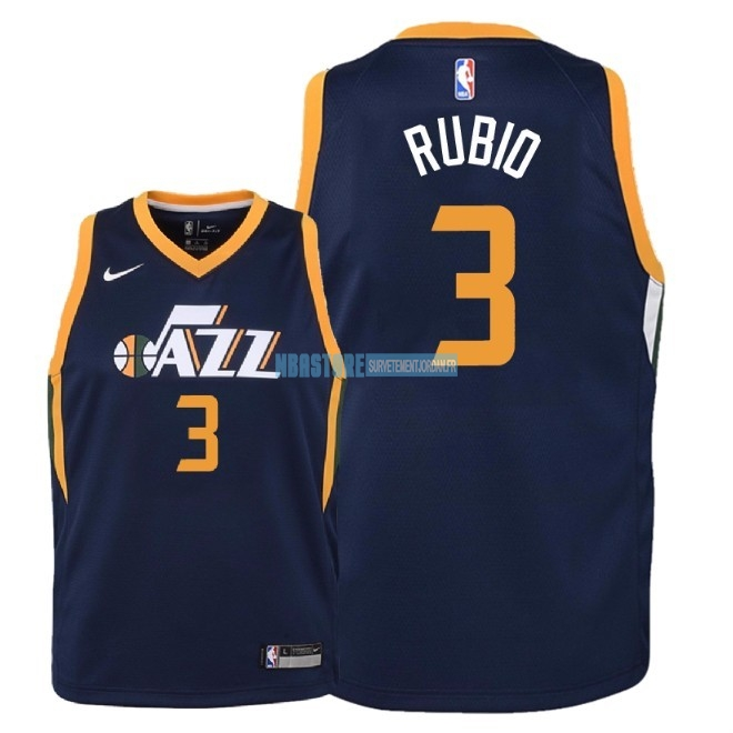 Maillot NBA Enfant Utah Jazz NO.3 Ricky Rubio Marine Icon 2018 Qualité 100%