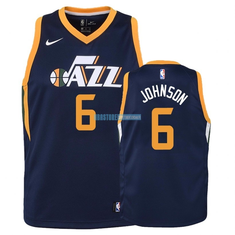 Maillot NBA Enfant Utah Jazz NO.6 Joe Johnson Marine Icon 2018 Qualité 100%