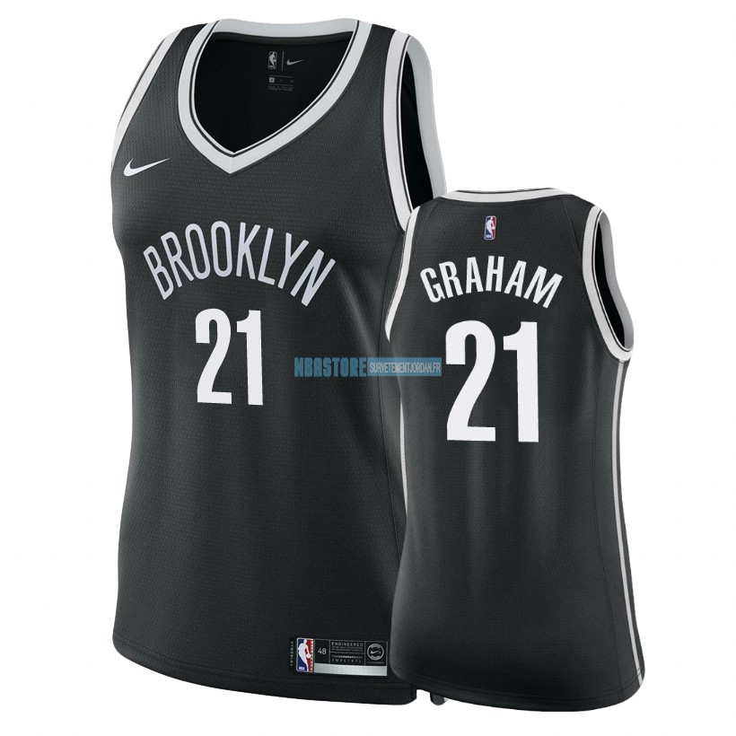 Maillot NBA Femme Brooklyn Nets NO.21 Treveon Graham Noir Icon 2018 Qualité 100%