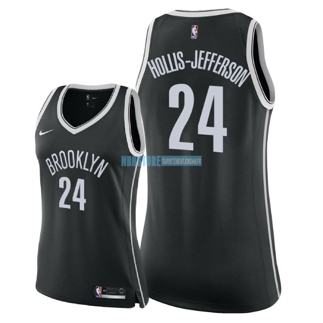 Maillot NBA Femme Brooklyn Nets NO.24 Rondae Hollis Jefferson Noir Icon 2018 Qualité 100%