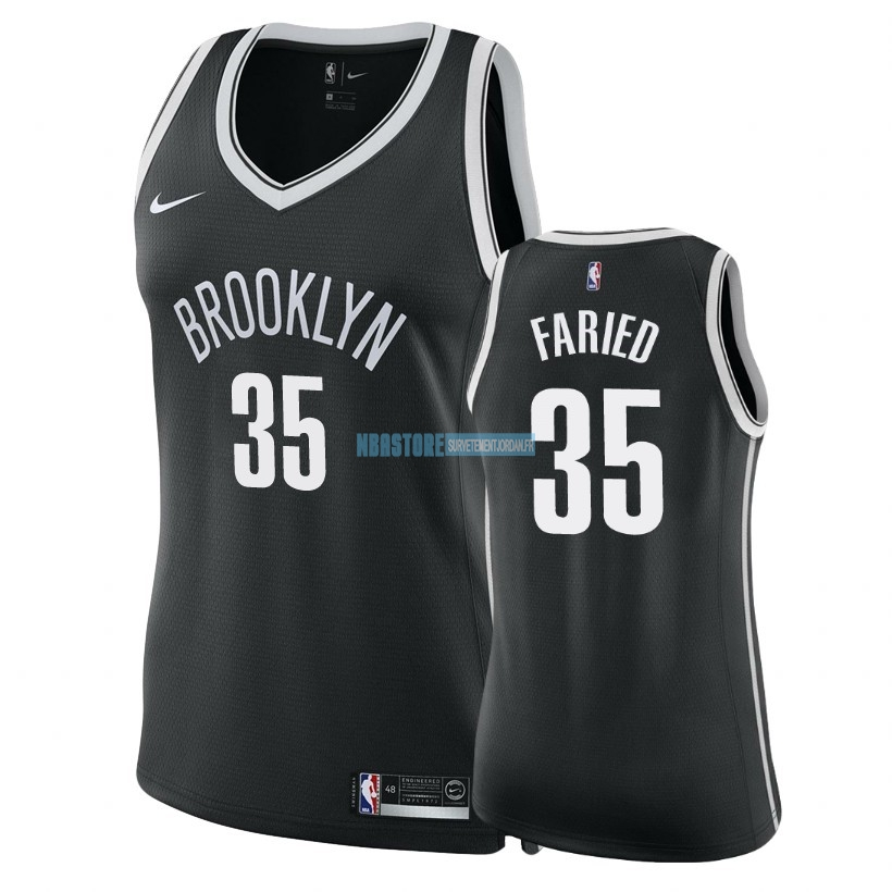 Maillot NBA Femme Brooklyn Nets NO.35 Kenneth Faried Noir Icon 2018 Qualité 100%
