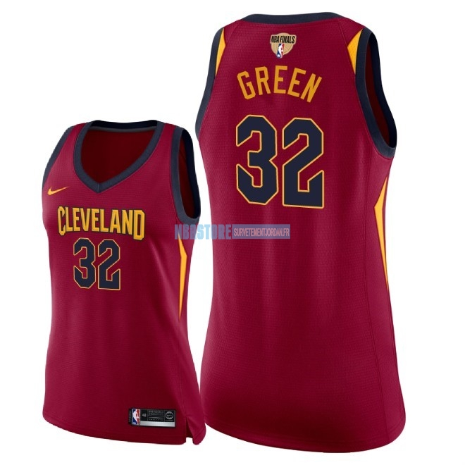 Maillot NBA Femme Cleveland Cavaliers 2018 Final Champions NO.32 Jeff Green Rouge Icon Patch Qualité 100%