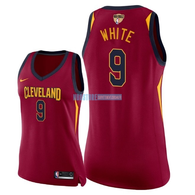 Maillot NBA Femme Cleveland Cavaliers 2018 Final Champions NO.9 Okaro White Rouge Icon Patch Qualité 100%