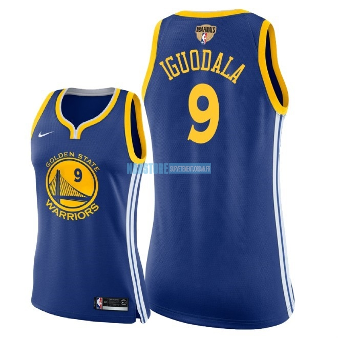 Maillot NBA Femme Golden State Warriors 2018 Final Champions NO.9 Andre Iguodala Bleu Icon Patch Qualité 100%