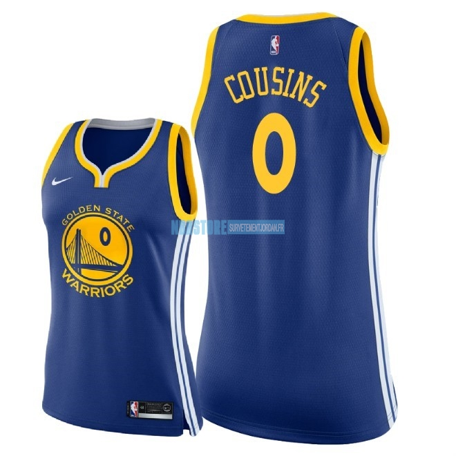 Maillot NBA Femme Golden State Warriors NO.0 DeMarcus Cousins Bleu Icon 2018 Qualité 100%