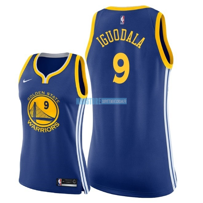 Maillot NBA Femme Golden State Warriors NO.9 Andre Iguodala Bleu Icon 2018 Qualité 100%