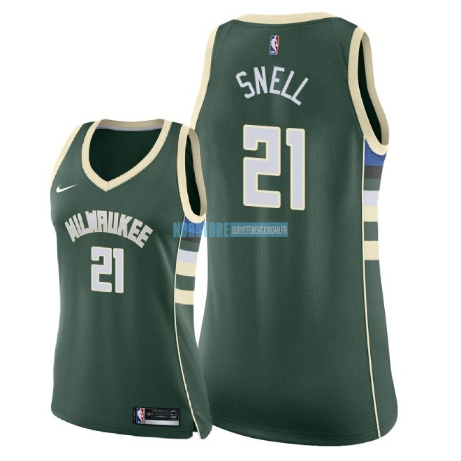 Maillot NBA Femme Milwaukee Bucks NO.21 Tony Snell Vert Icon 2018 Qualité 100%