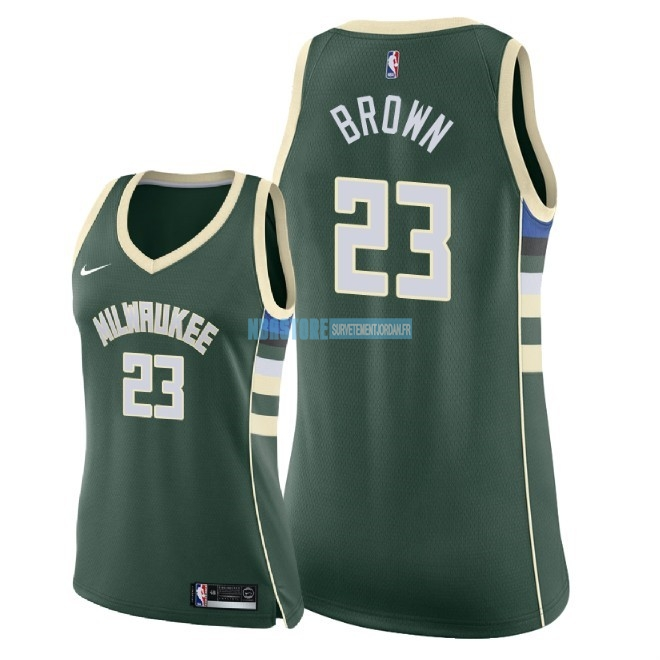 Maillot NBA Femme Milwaukee Bucks NO.23 Sterling Brown Vert Icon 2018 Qualité 100%