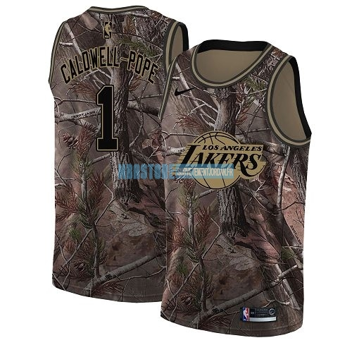 Maillot NBA Los Angeles Lakers NO.1 Kentavious Caldwell Pope Camo Swingman Collection Realtree 2018 Qualité 100%