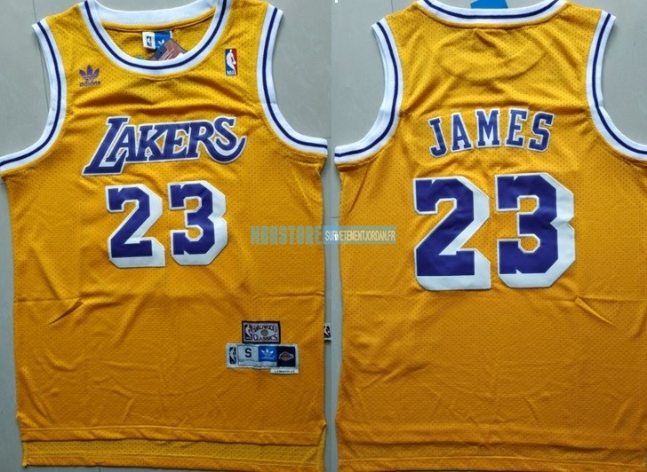 Maillot NBA Los Angeles Lakers NO.23 Lebron James Retro Jaune Qualité 100%