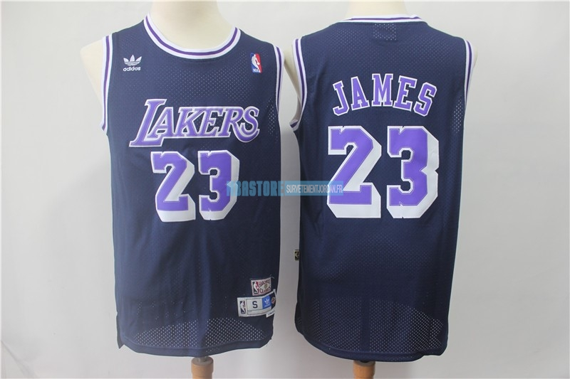 Maillot NBA Los Angeles Lakers NO.23 Lebron James Retro Noir Pourpre Qualité 100%