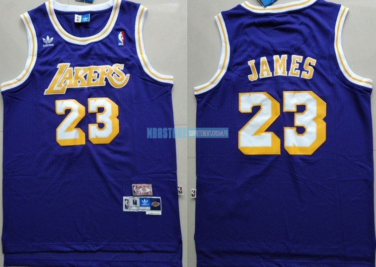 Maillot NBA Los Angeles Lakers NO.23 Lebron James Retro Pourpre Qualité 100%