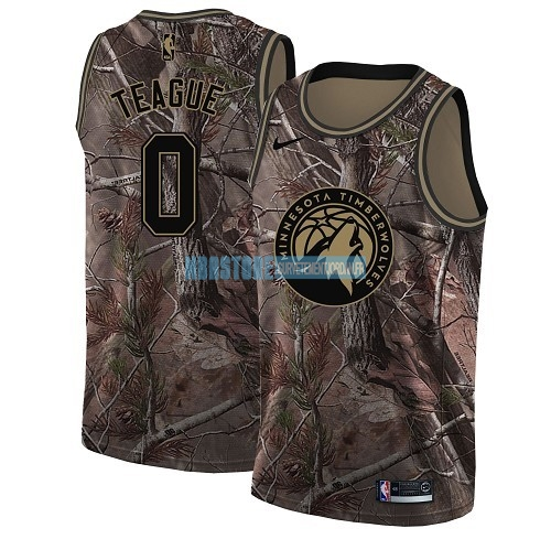 Maillot NBA Minnesota Timberwolves NO.0 Jeff Teague Camo Swingman Collection Realtree 2018 Qualité 100%