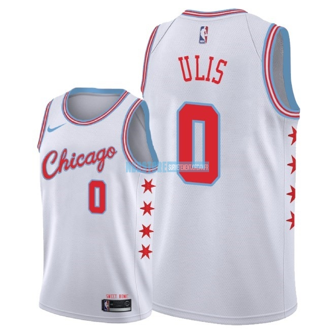 Maillot NBA Nike Chicago Bulls NO.0 Tyler Ulis Nike Blanc Ville 2018 Qualité 100%