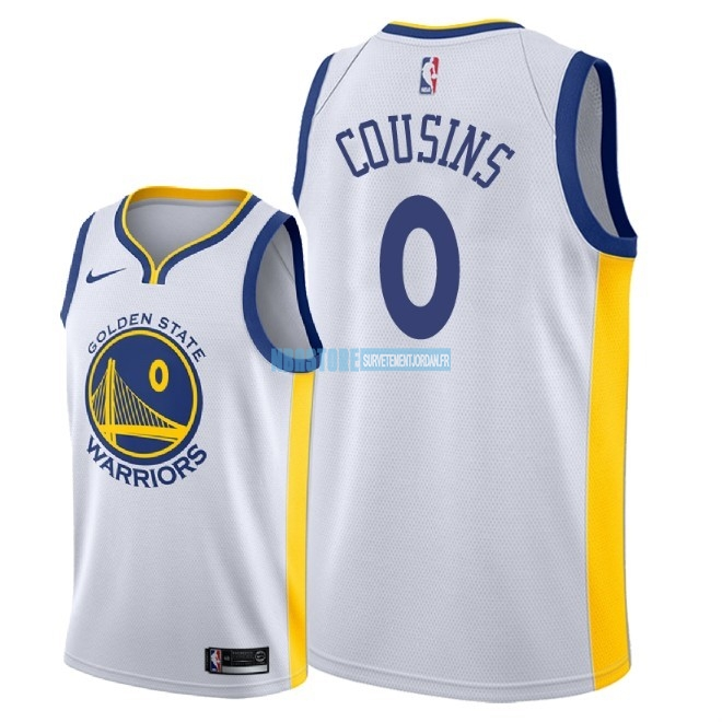 Maillot NBA Nike Golden State Warriors NO.0 DeMarcus Cousins Blanc Association 2018 Qualité 100%