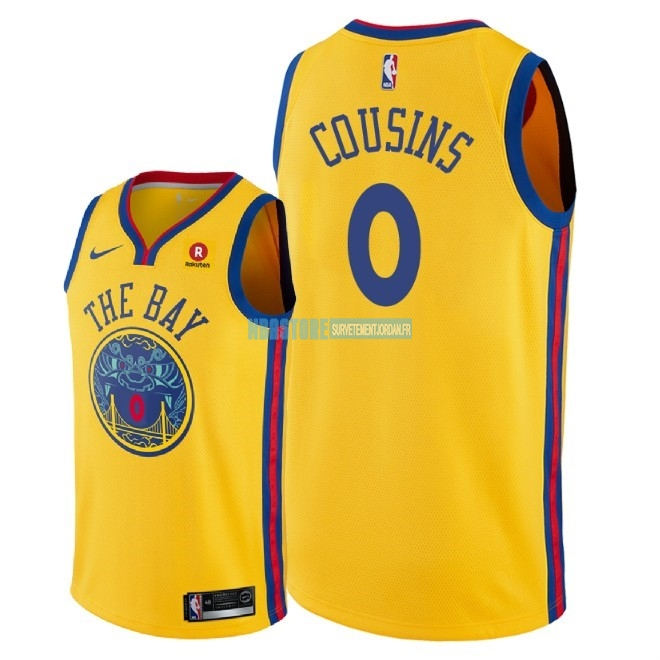 Maillot NBA Nike Golden State Warriors NO.0 DeMarcus Cousins Jaune Ville 2018 Qualité 100%