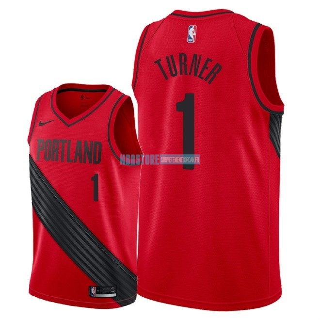 Maillot NBA Nike Portland Trail Blazers NO.1 Evan Turner Rouge Statement 2018 Qualité 100%