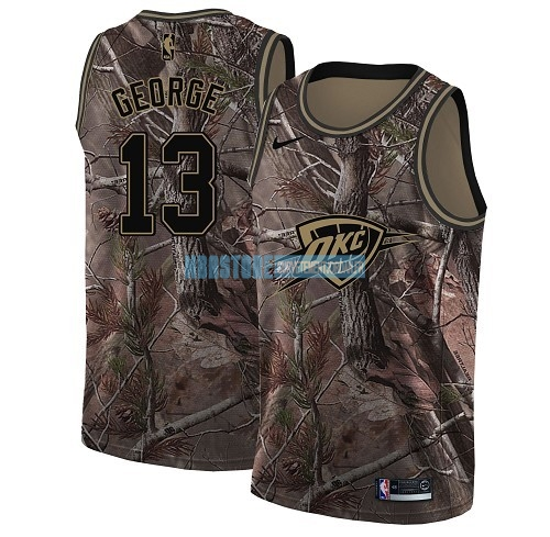Maillot NBA Oklahoma City Thunder NO.13 Paul George Camo Swingman Collection Realtree 2018 Qualité 100%