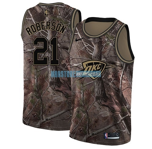 Maillot NBA Oklahoma City Thunder NO.21 Andre Roberson Camo Swingman Collection Realtree 2018 Qualité 100%