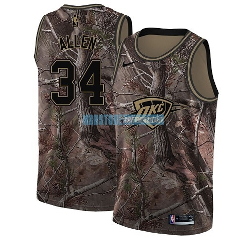 Maillot NBA Oklahoma City Thunder NO.34 Ray Allen Camo Swingman Collection Realtree 2018 Qualité 100%
