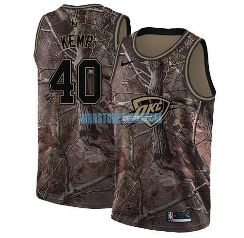 Maillot NBA Oklahoma City Thunder NO.40 Shawn Kemp Camo Swingman Collection Realtree 2018 Qualité 100%