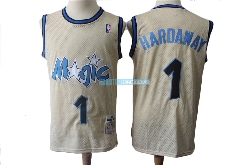 Maillot NBA Orlando Magic NO.1 Anfernee Hardaway Retro Crème 1993-94 Qualité 100%